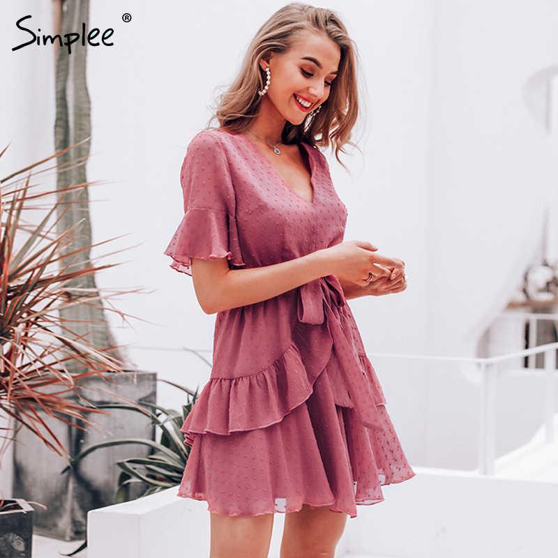 Simplee セクシーな v ネックポルカドット女性ドレス夏のスタイル重層フリルシフォンショートサンドレスエレガントなジッパー休日 vestidos 2019