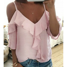 Sexy Sling V-neck Blouses Women's Clothing Shirt Summer Blouse Women Loose Shirts Off-the-shoulder Backless Ruffle Casual Blouse off the shoulder ruffle trim blouse
