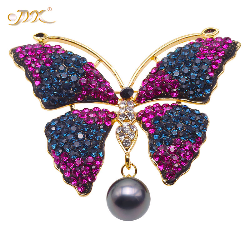 JYX Charming Butterfly Brooches Luxurious Black Tahiti natural Butterfly brooch Tahitian South sea Cultured Pearl Brooch
