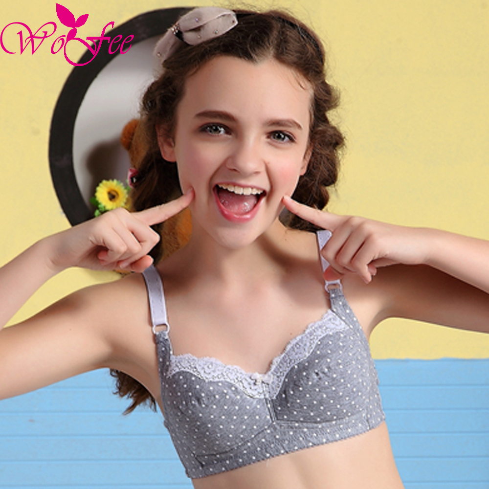 Tsfit-Land Young Girls Dots Printing One-Piece Thin Lace Training Bras With Three Back H ...
