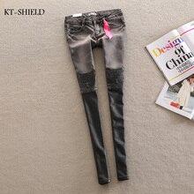 Ripped jeans for women Denim Jeans Woman gray leather stitching leopard patch jeans Femme Skinny Women Denim jean Pants Trousers
