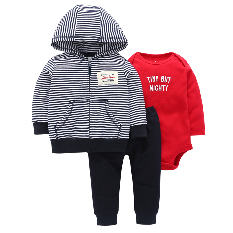 Bebek Top Cotton Full Official Store 2018 Hot Boys' Casual Striped Hooded Jacket, Trousers, Kazakhstan, 3 Piece Sets.