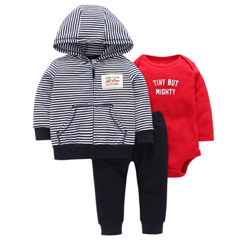 Bebek Top Cotton Full  Official Store 2019 Hot Boys' Casual Striped Hooded Jacket, Trousers, Kazakhstan, 3 Piece Sets.