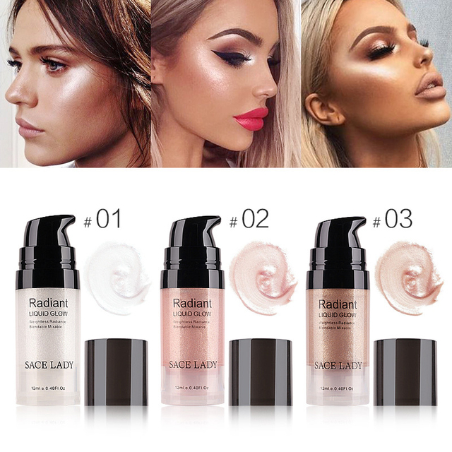 Sace Lady 3 Colors Liquid Highlighter Face Makeup Illuminator Glow