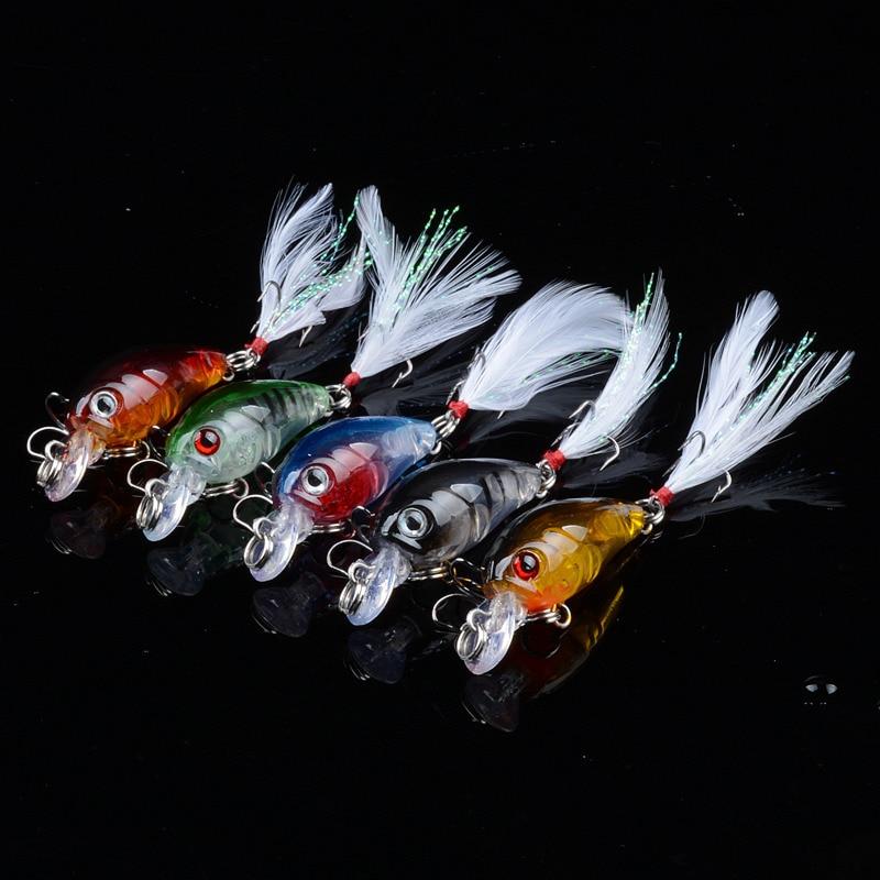 10pcs/Lot Wholesale 5 Colour 4.5cm/4g Swim Fishing Lure Artificial Hard 3D Eye Crank Bait Topwater Mini Crystal Feather Hook