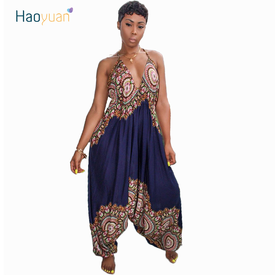 HAOYUAN African Ethnic Sexy Bandages Womens   Jumpsuit   Summer Overalls 2018 Casual Loose Backless Print One Pieece Harem   Jumpsuit
