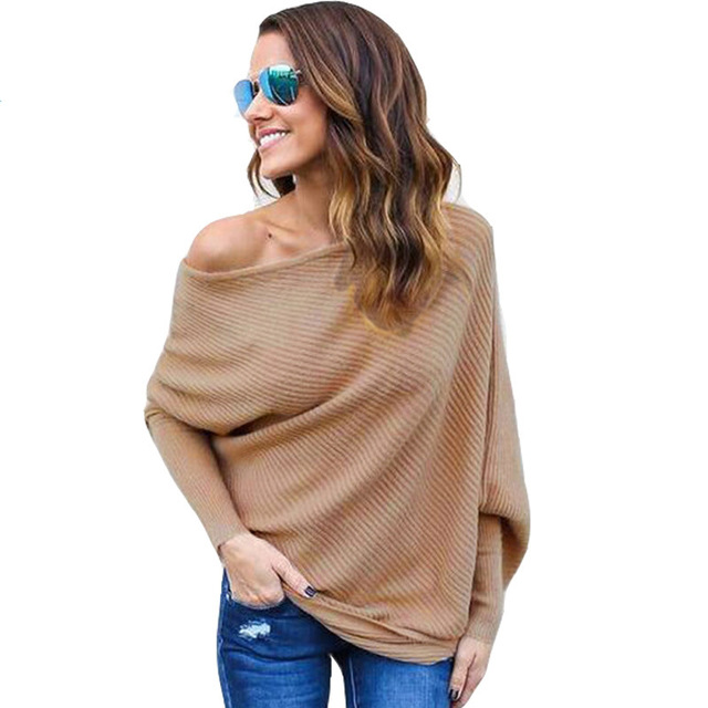 Sweater women 2019 new Spring/Autumn/winter Fashion Sexy Dew shoulder long Batwing Sleeve knitting Sweater Solid women clothing