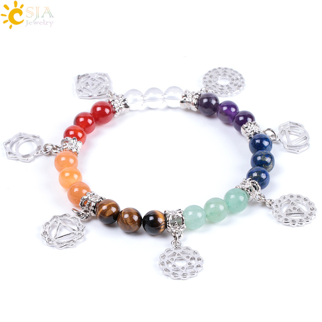 CSJA New Hot 8mm 7 Chakra Bracelet Healing Balance Energy Beads Prayer Natural Stone Yoga Bracelets Charm for Women Jewelry E996