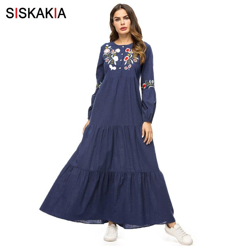 Siskakia Floral Embroidery Women Long Dress Navy Blue Fashion Patchwork Muslim Dresses Autumn Fall 2018 Maxi