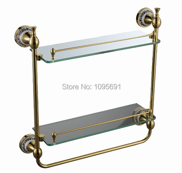 European style, luxurious golden brass + frosted glass+ceramic dual ...