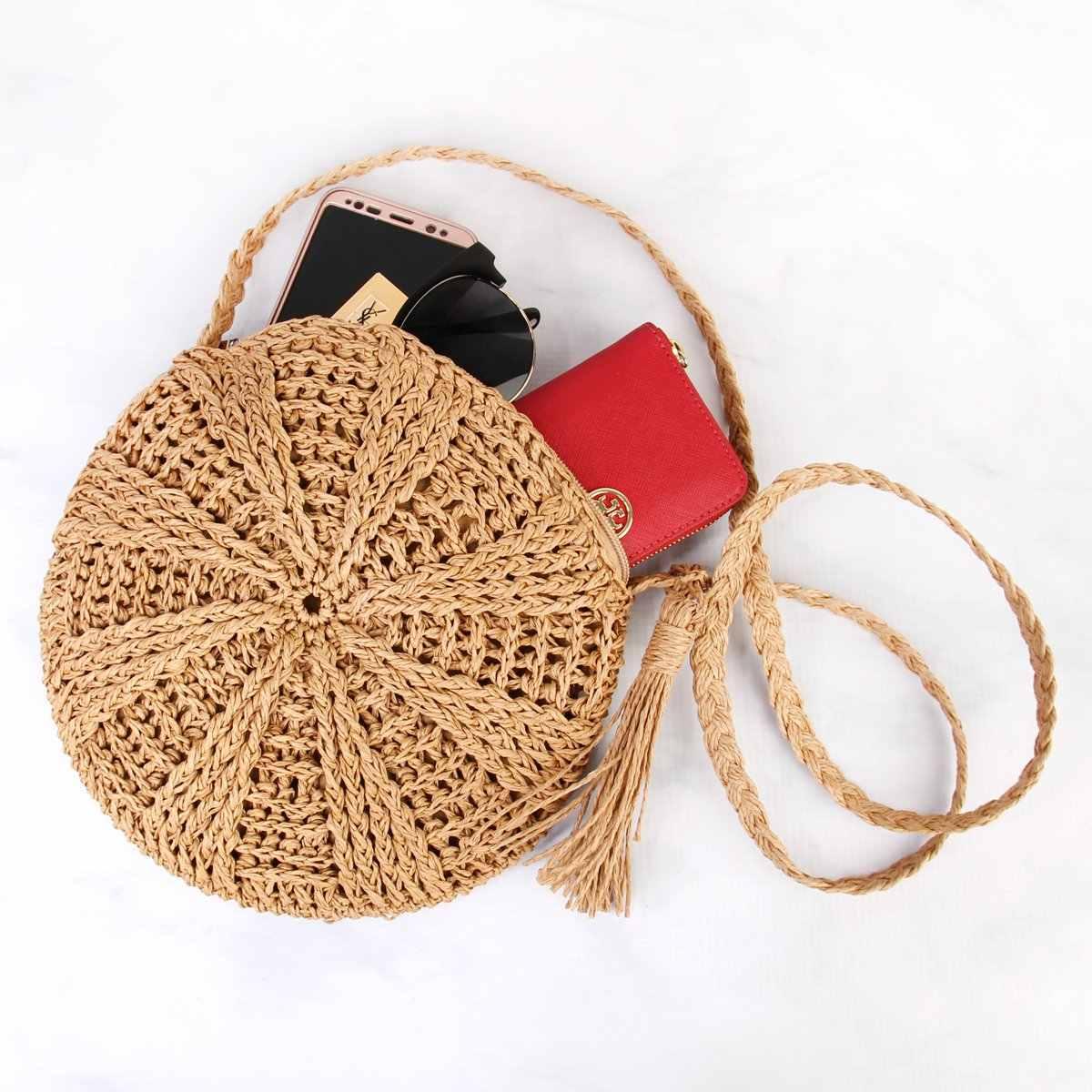 FGGS-Rotan Crochet Jerami Keranjang Anyaman Bali Bulat Tas Tangan Lingkaran Selempang Belanja Pantai Tote Tas