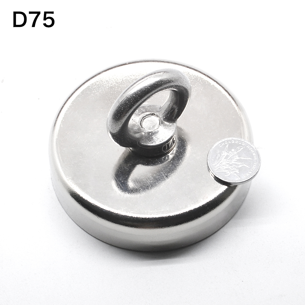 1pcs Pulling Mounting D75mm strong powerful neodymium Magnet Pot with ring fishing gear, deap sea salvage equipments D75