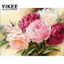 Yikee b035 Новое поступление алмазная вышивка пионы цветы сделай