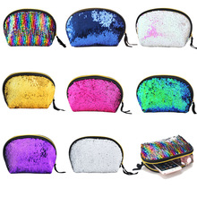 Fashion Paillette Women Cosmetic Bag Sequin Zipper Polyester Makeup Multifunction Hand Holding Mermaid Shell Storage