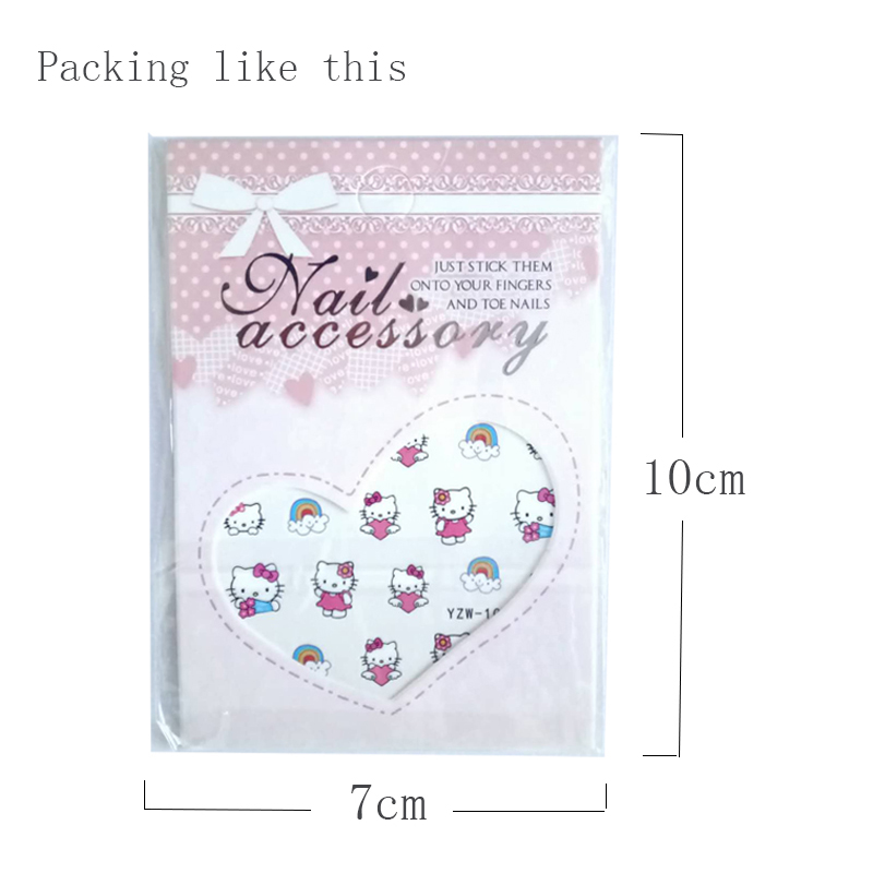 Image 3 - Hello Kitty  Mickey Mouse Decals Stickers Wrap Nails Cartoon Cute Nail Sticker Tips Decoration Nail Art Water Transfer Sticker-in Stickers & Decals from Beauty & Health