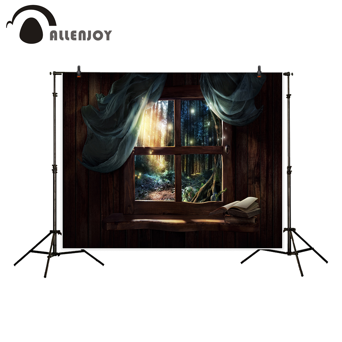 Allenjoy photography backdrop fairy tale window magic forest kid wonderland photocall background photo shoot prop newborn
