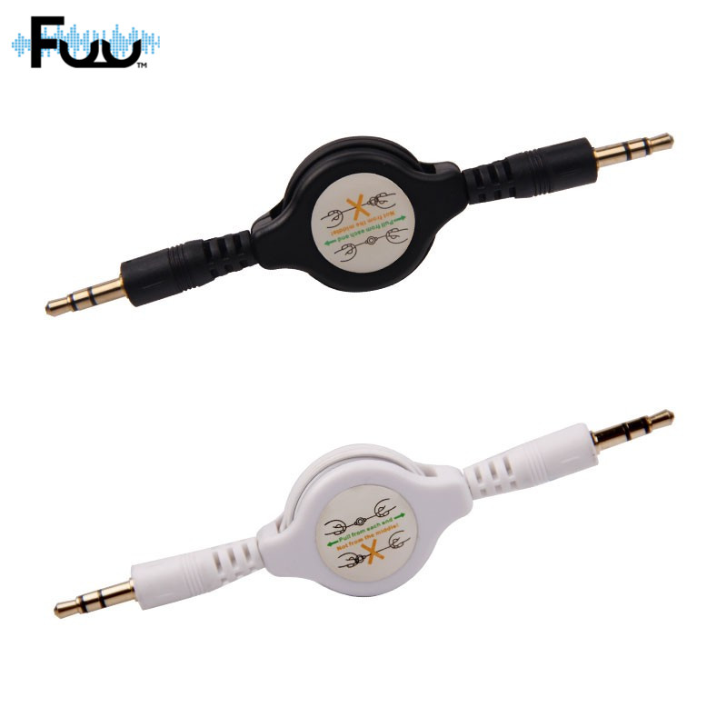 car telescopic aux white audio cable jack male to. Black Bedroom Furniture Sets. Home Design Ideas