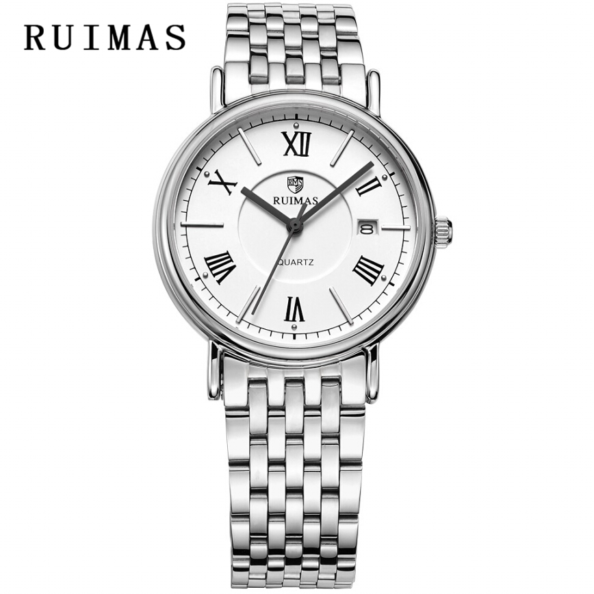 Dress Business Gentleman RUIMAS Male Quartz Watch Brand Rose Golden Men Waterproof Stainless Steel Watches Erkek Kol Saati Clock orkina fashion casual men clock black stainless steel case male watches japan quartz movement water resistant erkek kol saati
