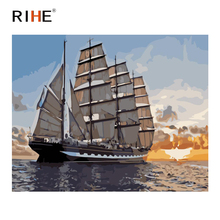 RIHE Sailing Boat Diy Painting By Numbers Sunset Ocean Oil On Canvas Hand Painted Cuadros Decoracion Acrylic Paint Art
