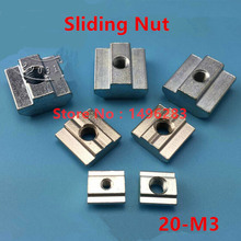 1pcs 20-M3 T Sliding Nut M3 Square Block Nuts 20 Serie Slot 6 Aluminum Profile Connector Accessories(China (Mainland))