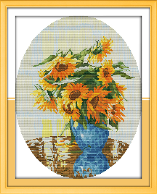 Sunflower in Blue Vase