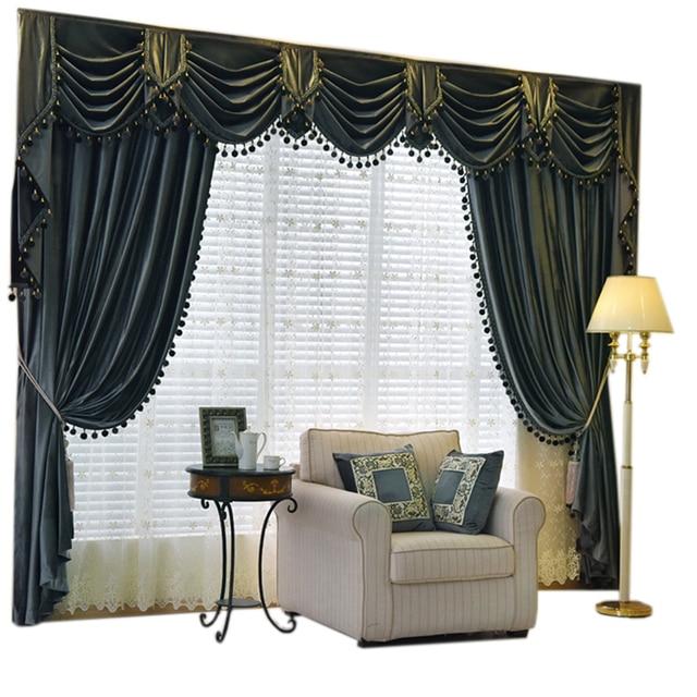 Custom Curtain High Grade European Luxury Italy Velvet Thick Dark Grey Solid Cloth Blackout