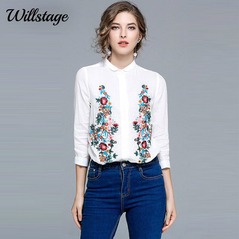 6acd9fd1af9 Willstage Women White Blouse Floral Embroidery Shirts Elegant Irregular  Cotton Linen Blouses OL Work Wear 2018 Spring New Tops-in Blouses   Shirts  from ...