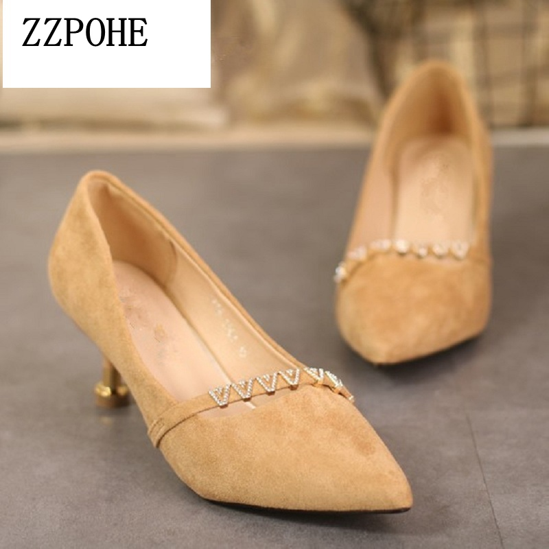 ZZPOHE Spring new arrival women mid heel shoes velvet thin pointed toe Ladies single shoes shallow mouth sexy women shoes genuine large size single toe head high heels shallow mouth thin heel velvet shoes woman star with w824