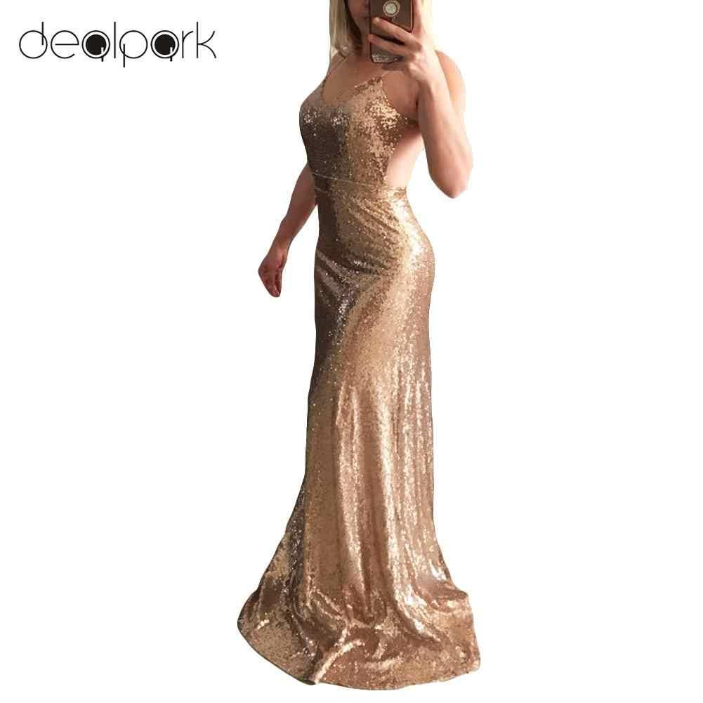 cd12023488 2018 Summer Sexy Women Glitter Sequin Dress Bodycon Maxi Dress V Neck Open  Back Zipper Formal