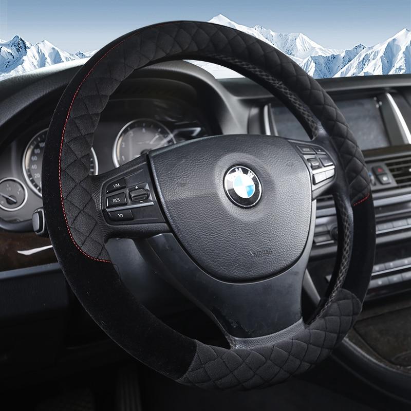 KKYSYELVA Warm Winter Car steering wheel cover Interior Accessories 38cm Auto Steering-wheel Covers Styling