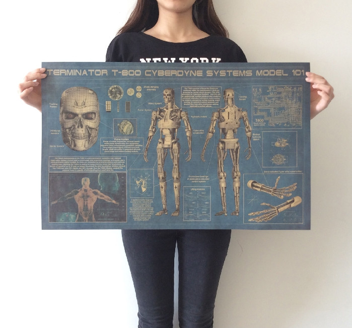 TERMINATOR T-800 CYBERDYNE SYSTEMS MODLE 101 huge large Vintage Style Retro Paper Poster Home wall decoration