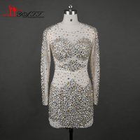 2017 Sexy Sparkly Formal Party Dress Transparent Nude Transparent Beaded Crystal Long Sleeve Mini Short Cocktail Dresses Elegant