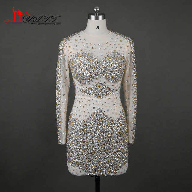 2017 Sexy Sparkly Formal Party Dress Transparent Nude Transparent Beaded  Crystal Long Sleeve Mini Short Cocktail Dresses Elegant 2618f046d332