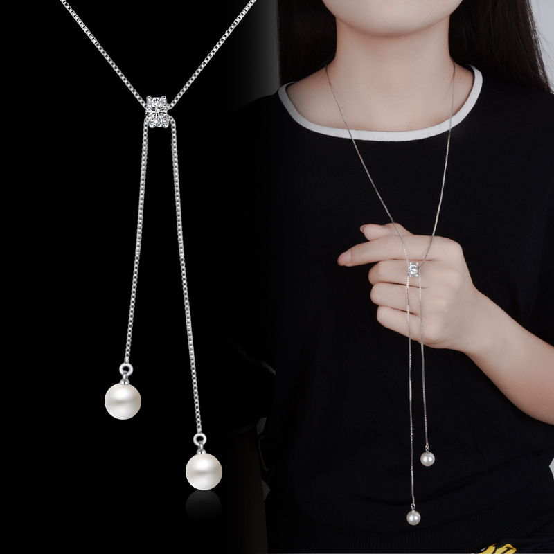 Lovely Hot Pearl Long Sweater Chain Pendants&Necklace Accessary S925 Crystal Lady Statement Simple Fashion Jewlery Bijoux Gifts