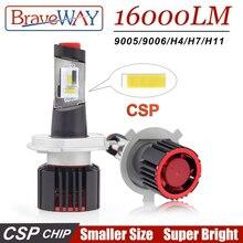 цена на BraveWay Super LED CSP Chip Led Bulb H4 H7 H11 9005/HB3 9006/HB4 H8 LED Lights for Auto Car Lamp for Car Headlight Bulbs 16000LM