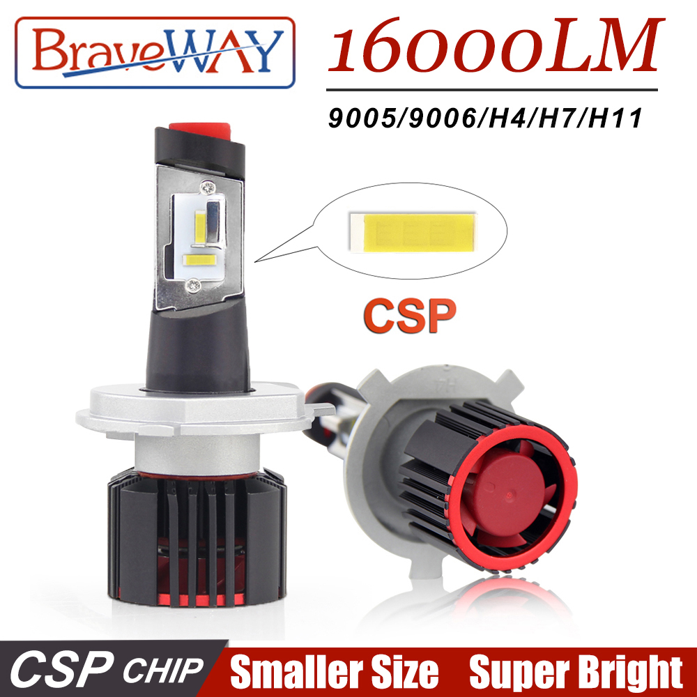 BraveWay Super <font><b>LED</b></font> CSP Chip <font><b>Led</b></font> Bulb <font><b>H4</b></font> H7 H11 9005/HB3 9006/HB4 H8 <font><b>LED</b></font> Lights for Auto Car Lamp for Car <font><b>Headlight</b></font> Bulbs 16000LM image