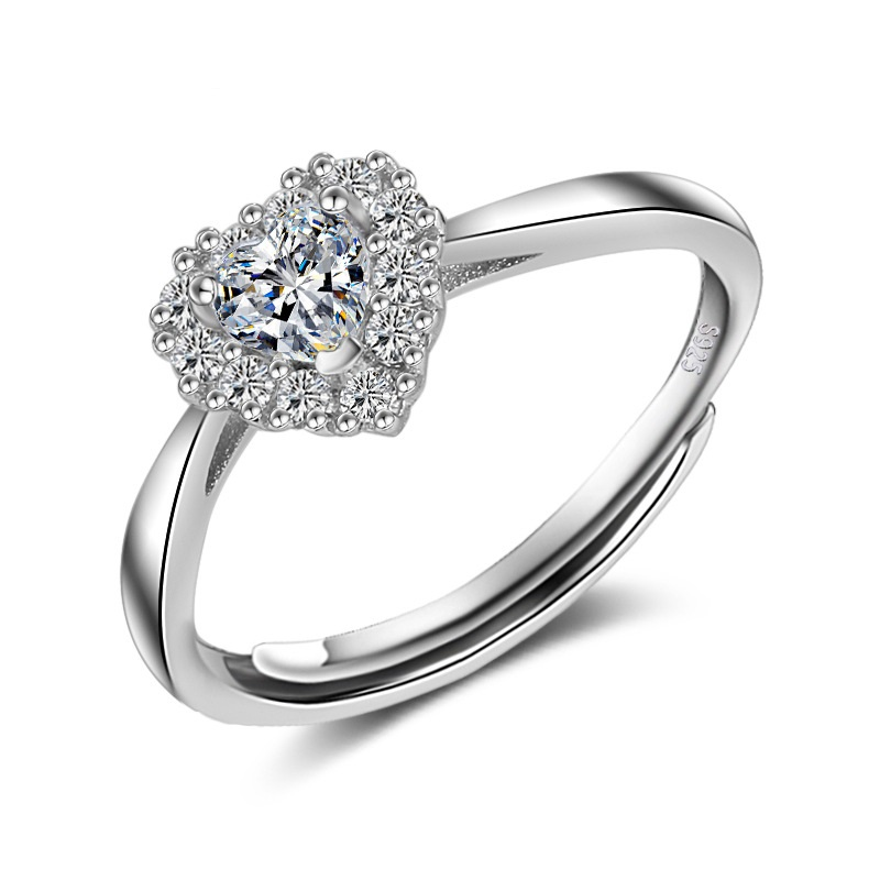 Classic Heart CZ Stone Engagement Ring Prong Settings Genuine 925 Sterling Silver Jewelry Marriage Ring Romantic Gift for Wife