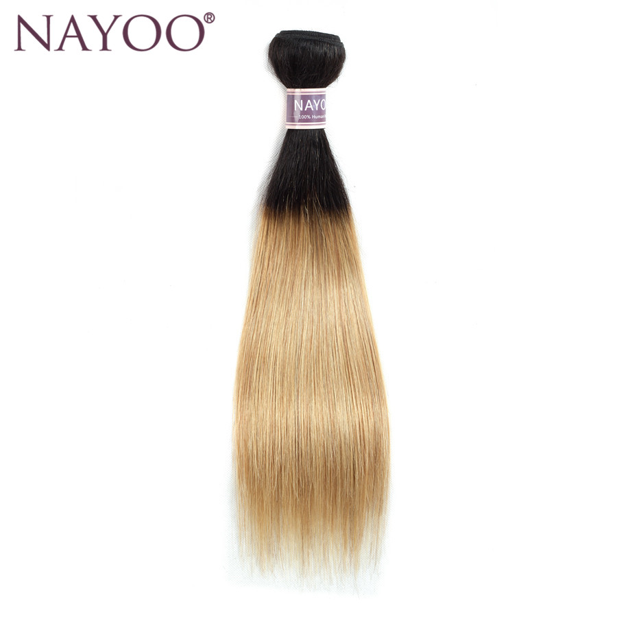 NAYOO Hair Brazilian Straight Hair T1B/27 Ombre Human Hair Bundles 1 PC Non Remy Hair Extension Can Buy 3 Bundles Deal