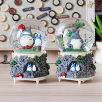 Rotating diy Totoro Baby Kids Toy music box Swivel snow globe Crystal Colorful Lighted Ball Christmas Gift carrossel Music Box
