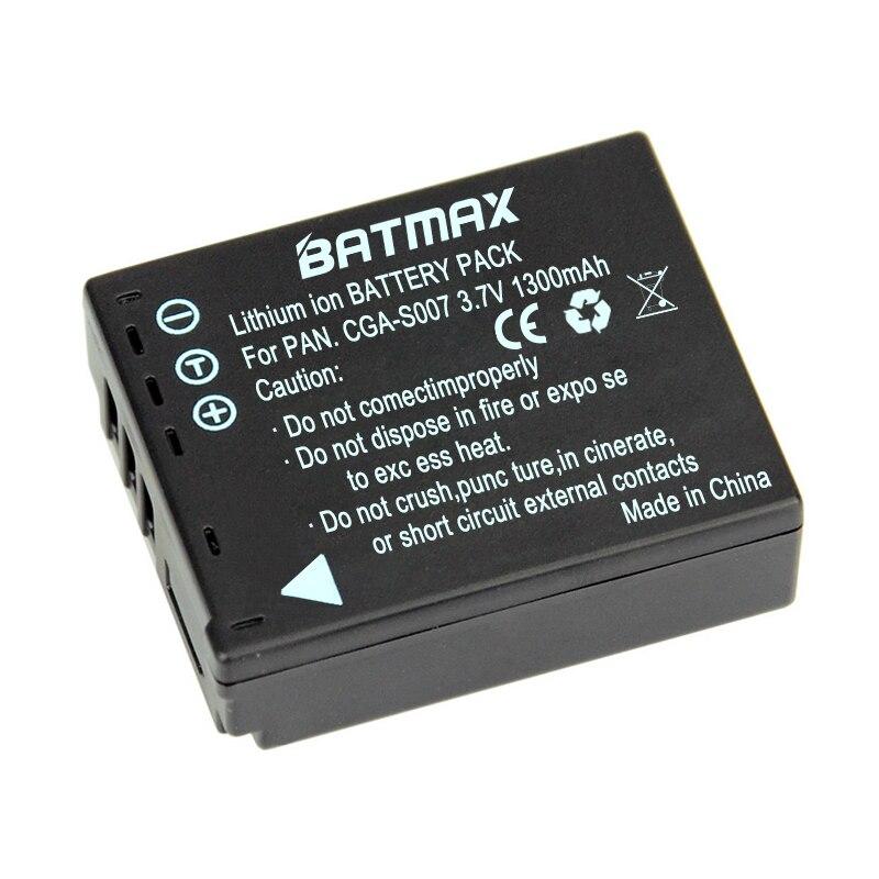 Batmax 1 Pc 1300mAh CGA-S007 CGA CGR S007E S007 S007A BCD10 Battery for Panasonic DMC TZ1 TZ2 TZ3 TZ4 TZ5 TZ50 TZ11 TZ15 Bateria