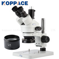 KOPPACE Trinocular Stereo Microscope,WF10X/20 Eyepieces, 3.5X 45X Mobile phone repair microscope,LED Ring Light,0.5X lens