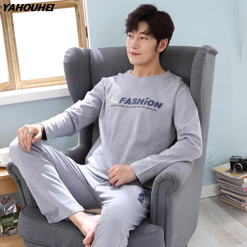 Casual Letter Cotton Pajama Set For Men 2019 Autumn Winter Long Sleeve O-Neck Pyjama Plus Size Male Lounge Homewear Home Clothes