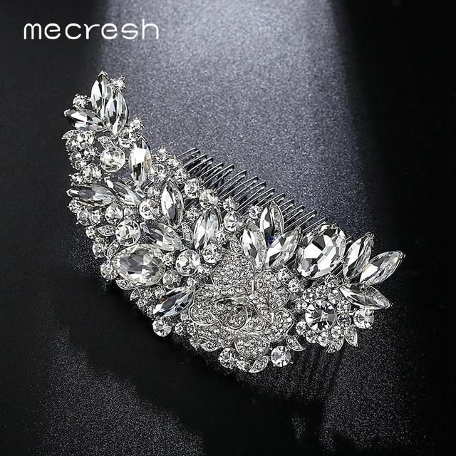 Mecresh Leaf Shape Bridal Hair Combs Luxurious Crystal Rhinestone Wedding Hair J