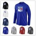 Дешевые Нью-Йорк Рейнджерс Длинным Рукавом Футболки Большие & Tall Логотип Мода Рейнджерс Тис Shirt Хлопок O-образным Вырезом Футболки