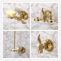 Luxury gold 4 Piece Bathroom Hardware Accessory Set Golden Robe hook Toilet brush Holder Soap dish Toothbrush cup