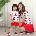 2017 семьи clothing хлопка детей Футболку мультфильм Корейской моды мать дочь соответствие одежды