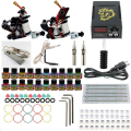 Professional 1Set  Equipment Dual machine 20color Tattoo Machine set 2 Gun Power Supply Cord Kit Body tattoo beginner