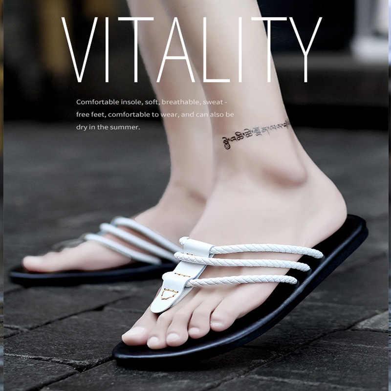 Men's slippers 2019 summer flip-flops rubber anti-skid youth clip foot three line fashion leisure beach sandals Yasilaiya
