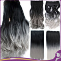 "26"" Long Wavy 5 Clips Heat Resistant Synthetic Clip in Grey Hair Extensions Black To Sliver Gray Ombre Hairpiece Accessories"