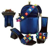 2018 thời trang giày và túi để phù hợp với đảng phi aso ebi hoàng gia màu xanh giày ý và túi specail dép đi trong nhà xô túi SB8289 10
